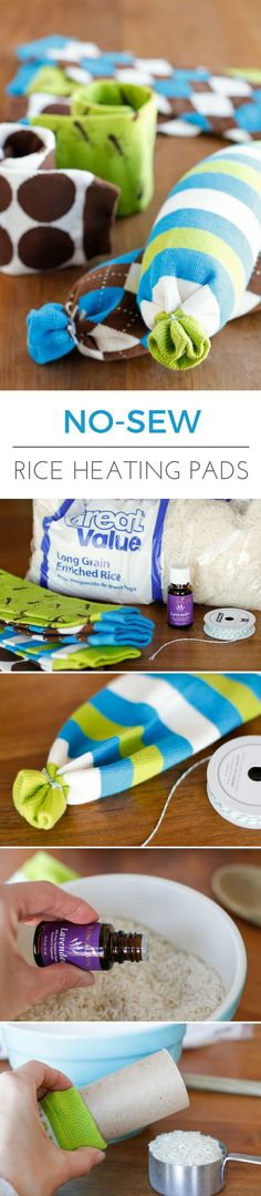 Easy No-Sew Rice Heating Pad -- making this homemade microwavable rice heating pad took less than 5 minutes start to finish. Perfect for soothing sore muscles or warming up from the cold, especially when you add a few drops of essential oil! | via @unsoph