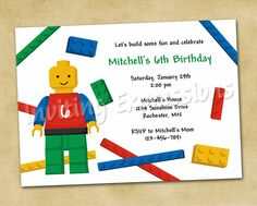 LEGO Blocks Boy Birthday Invitations