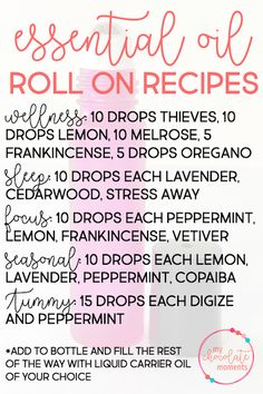 DIY essential oil roll on recipes