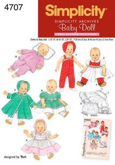 DOLL CLOTHING PATTERN - Make Vintage Style Baby Doll Clothes - BItty Baby and Others. $6.99, via Etsy.