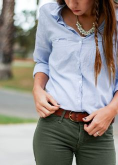 3f74d4f1cacbb Life Goes By. Green Blouse OutfitOlive ...