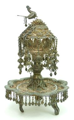 """ANTIQUE PERSIAN SILVER FILIGREE INCENSE BURNER.Consisting of 800 sterling silver sits on 3 ornate legs. Measures 6.5"""" tall."""
