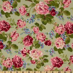 Looks like vintage - but its not!! So beautiful... Rose Garden Green - Discount Designer Fabric - Fabric.com