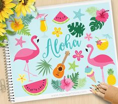 SPEND $30+ GET 1/2 OFF YOUR ENTIRE ORDER!! | COUPON: HALFOFF30 Or Click Here: http://etsy.me/2n47zKG to add it automatically to your total. ALOHA FLAMINGO Vector Clipart: flamingos, tropical plants, ice-cream, pineapple cocktail, watermelon slices, Pina Colada, summer vacation,