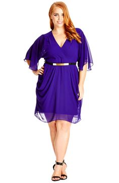 City Chic 'Colour Wrap' Surplice Dress (Plus Size)