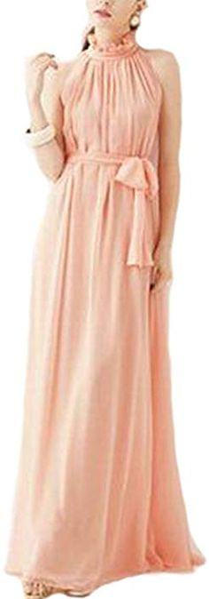 Amazon.com: VSVO Women Halter Neck Sleeveless Chiffon Maxi Dresses (One Size, Light Pink): Clothing