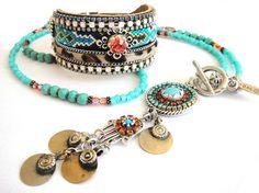 Bohemian necklace  gypsy style  long beaded by OOAKjewelz on Etsy, $112.00