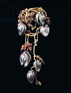 Brooch with clematis in gold by Rene Lalique (1860-1945) ♣️Fosterginger.Pinterest.ComMore Pins Like This One At FOSTERGINGER @ PINTEREST No Pin Limitsでこのようなピンがいっぱいになるピンの限界