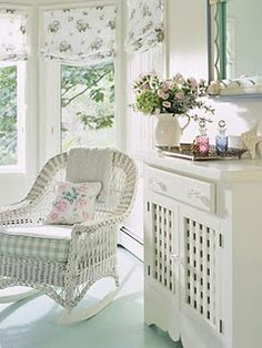 White Wicker Chair and painted floor