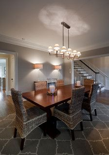 """Remodel: Whole House """"Eclectic Comfort"""" - Eclectic - Dining Room - Charlotte - Andrew Roby General Contractors House Color Schemes Interior, Interior Design Living Room, Interior Paint, Anew Gray, Dining Room Wallpaper, Paint Colors For Home, Living Room Colors, House Rooms, Home Remodeling"""