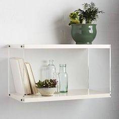 "24"" wide   $187 West Elm Acrylic Sided Shelf, White Lacquer - Wall Shelves & Ledges - Home Shelving"