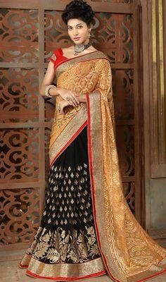 Beige and Black Color Embroidered Georgette Half N Half Sari