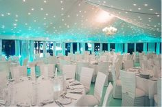 Tiffany blue wedding lighted reception. LOVEEE #OMG