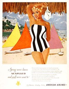 """1951 American Airlines Acapulco original vintage advertisement. """"Spring never leaves Acapulco and you'll never want to! Visit the Mexican Riviera of the Western Hemisphere."""""""