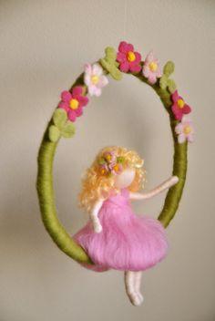 Items similar to Waldorf inspired needle felted mobile - Adventskalender Basteln Hedgehog Craft, Felt Angel, Felt Gifts, Felt Mobile, Needle Felting Tutorials, Felt Fairy, Fairy Dolls, Felt Toys, Felt Ornaments