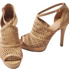 BCBG tan heels Short Suede heels with an ankle buckle. BCBGeneration Shoes Heels