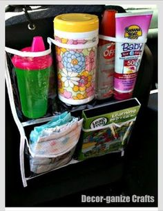 Shoe storage car organizer filled with kid goodies would be good for baby shower gift