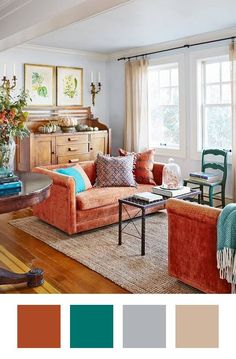 Colors that Go With Orange & How To Make Them Work | Burnt orange and rust home decor are coming back to warm homes. Orange aesthetics are brining style and brightness to color palettes in every room. From blues and gray neutrals to bright neon colors.