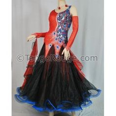 Share me and get 5% off coupon Red Black Peacock allroom Smooth Waltz Dance Dress - XL
