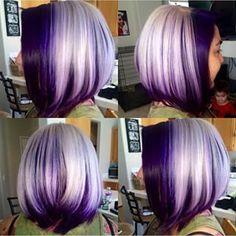 platinum blonde and purple bob