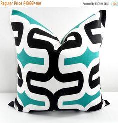 SALE BLACK  Pillow cover. Embrace Jade  sham cover. Maze Jade