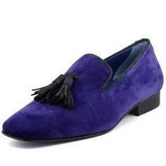 Drake Men's Velvet Tassel Smoking Slipper, Purple - Hadleigh's