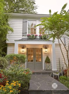 Exterior Paint Colors - You want a fresh new look for exterior of your home? Get inspired for your next exterior painting project with our color gallery. All About Best Home Exterior Paint Color Ideas Grey Exterior, House Paint Exterior, Exterior Paint Colors, Exterior House Colors, Paint Colors For Home, Exterior Design, Paint Colours, White Exterior Paint, Shutter Colors