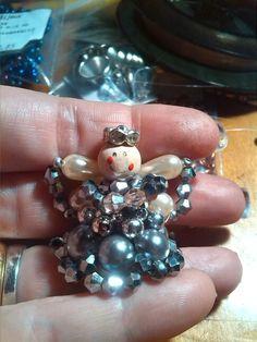 Miniatura angioletto di perline argento