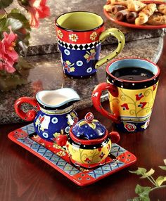 Joyce Shelton Mugs aand Cream and Sugar set Coffee Tray, Coffee Cafe, Pottery Painting, Ceramic Painting, Christmas Wine Glasses, Mexican Kitchen Decor, Spiced Coffee, China Tea Sets, Painted Plates