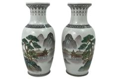 Chinese Mountain Scene Vases, S/2 $165.00 $300.00 45% Off ~~~SOLD~~~