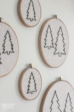 Christmas dining room embroidery hoop pine tree wall art - thegoldensycamore.com