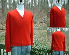 Vintage Cashmere Mens V Neck Sweater by Lord Jeff, Size L, Made in the USA, About 1970s by HiddenTreasureHunter on Etsy