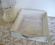 Vintage Wooden Dest PaperTray White Shabby Chic by CraftyMJC, $28.00