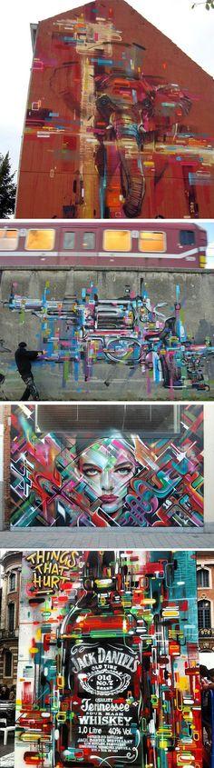 Conheça a arte do grafiteiro belga Steve Locatelli. A técnica de seus background coloridos é inconfundível.
