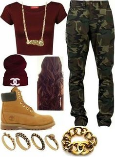 jeans camo pants chanel timberlands gold camouflage hat shirt jewels
