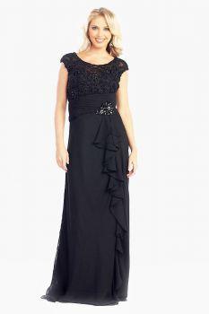 Damenhaftes Abendkleid hochgeschlossen Spitze Chiffon