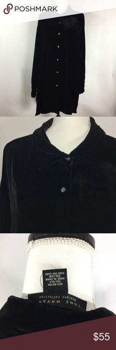 Lane Bryant Sz 26/28 velvet LS Button Down Blouse Gently used. Normal wear. Minor hole on the pst button there is pulling. Measurements: Sleeve Length - 24 inchesShirt Length - 34 in / 31.5 in neckline length down. Armpit to armpit - 33 inches : 079 Lane Bryant Tops Button Down Shirts