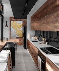 57 super Ideas for apartment modern industrial interior design Kitchen Tiles, Kitchen Flooring, New Kitchen, Kitchen Decor, Kitchen Black, Kitchen Wood, Kitchen Island, Kitchen Cabinets, Island Table