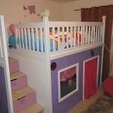 Playhouse Loft Bed with Stairs - So cute and could grow with the child from a playhouse to a reading/music area, etc.