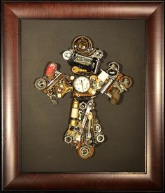 16 x 20 Manly Man Cross Embellished with by CreativelyYours2012, $300.00