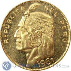 1967 Peru 50 Soles Gold Coin - Inca Indian Head .9675 oz of Gold http://www.gainesvillecoins.com/