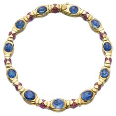 SAPPHIRE AND RUBY NECKLACE, MARINA B.  The decorative gold mount set with alternating cabochon sapphires and ruby beads, length approximately 400mm, signed Marina B and numbered, Italian assay and maker's marks.