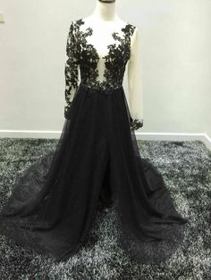 Real Picture Sexy Black Prom Dresses 2016 Illusion Bodice Long Sleeve Split Evening Gowns Chiffon Long Party Dress Formal Goth Prom Dresses Long Gowns Online From Angelia0223, $175.61| Dhgate.Com