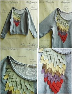 Shirt with feather effect