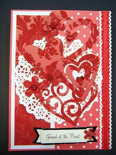 Romantic Anniversary or Wedding Lace and Hearts handmade card