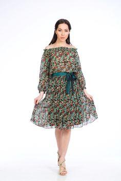 Colectia Primavara/Vara 2017 NICHI CRISTINA NICHITA Nature Symphony rochie voal cu umerii goi