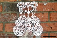 Floral Teddy Bear paper cut svg / dxf / eps / files and pdf / Paper Cutting, Stencils, Bear Silhouette, Silhouette Files, Silhouette Design Studio, Origami Rose, Paper Cut Design, 3d Rose, Flower Template