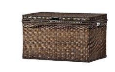 "Brown Wicker Storage Trunk / Coffee Table by Global Home. $154.33. Frame Material: Metal. Features: Removable Top. Dimensions: 18.0 "" H x 30.0 "" W x 18.0 "" D. This brown rectangular trunk features a lacquered finish and is a stylish way to add storage to any room. The spacious trunk has an attached lid, and its rattan-style design looks great with any décor.  Frame Material: Plastic Surface Material: Wicker Finish: Lacquered Care and Cleaning: Wipe Clean With..."