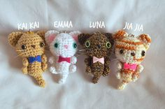 Chibi Cat Keychains Crochet Mini Cats by pennyforasong on Etsy