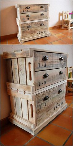 See this image and you would probably be falling in love with the amazing piece of the wood pallet chest of drawers for sure. It is overall designed in a innovative form of versions. Get ready to try it now! It look so different and unique for sure.